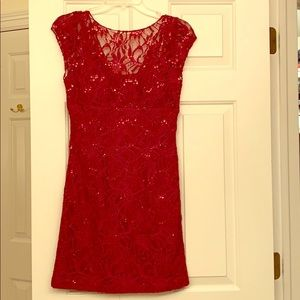 Red Lace Sequin Dress
